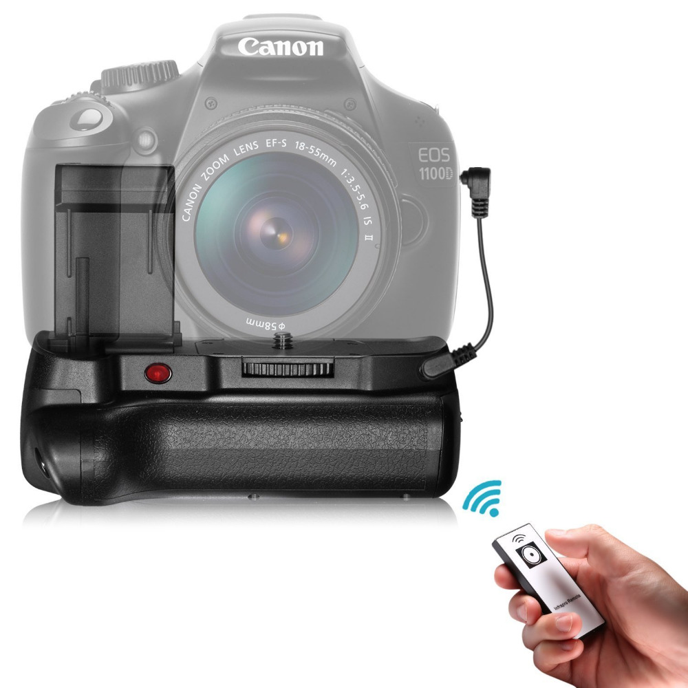 US $22 53 10% OFF Neewer IR Control Vertical Battery Grip Work with LP E10  Battery for Canon 1100D 1200D 1300D/Rebel T3 T5 T6 SLR Digital Camera-in