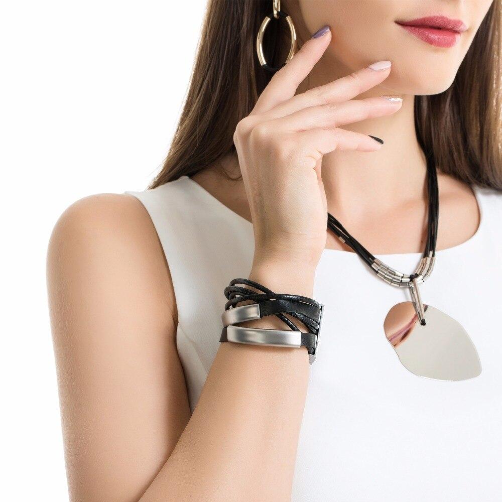 Multilayer Silver Color Magnet Black Leather Rope Wrap Bracelet Office/career Bracelets For Women Wristband Bileklik
