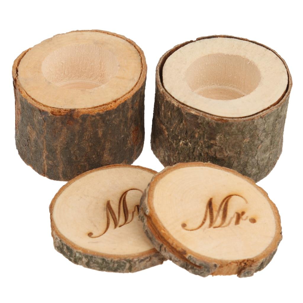 1 Set of 2pcs Decorative Mr & Mrs Vintage Shabby Chic Rustic Wedding Ring Pillow Bearer Holder Box Wooden Wedding Decorations