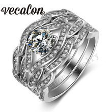 Vecalon New 3-in-1 Cross Wedding ring set for women 2ct AAAAA Zircon Cz 10KT White Gold Filled Female Engagement Band ring