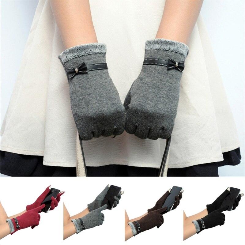 Nieuwe Leuke Vrouwen Klik Gevoel Screen Gebreide Pols Handschoenen Wanten Bowknots Bloem Korte Handschoenen Brede VariëTeiten