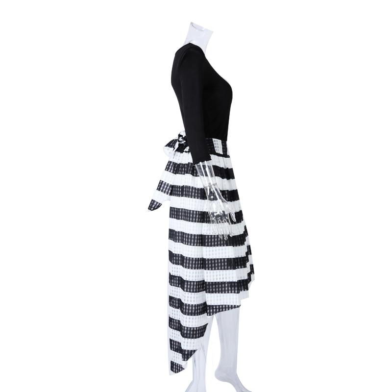 Elegant Two-Piece Long Sleeve Stripe Dress 5