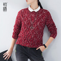 Toyouth mujeres suéter del o-cuello de manga larga hollow out loose suéter de punto moda femenina superior
