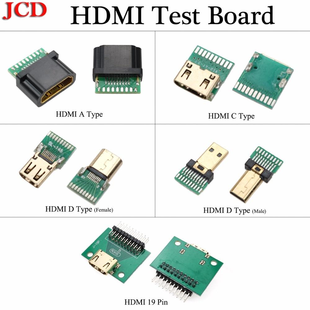 JCD New Female Male PCB Board HDMI Type A C D Standard Male Plug With PCB Board 19P HDMI Connector HDMI 19 Pin HDMI Test Board