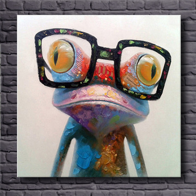 Hand Painted Acrylic Canvas Oil Paintings Colorful Frog with Big Glasses Funny Modern Abstract Animal Wall Art Kid's Room Decor