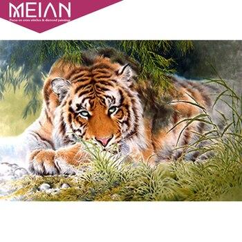 Meian, tygrys, pełne, diament haft, 5D, malowanie diamentowe, okrągłe, ściegiem krzyżykowym, 3D, diament mozaika, robótki, rzemiosło nowy