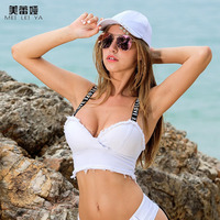 Meileiya 2017 Summer Letter Strap Vest Bra Women White Denim Tank Tops Sexy Camisole Female Beach