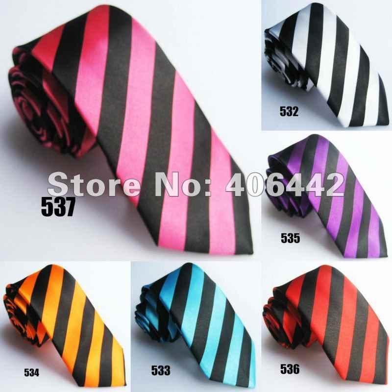 """2 """"Poly SLIM Dasi polyester Garis-garis SEMPIT gravata KURUS tie Dasi untuk mencocokkan kemeja"""