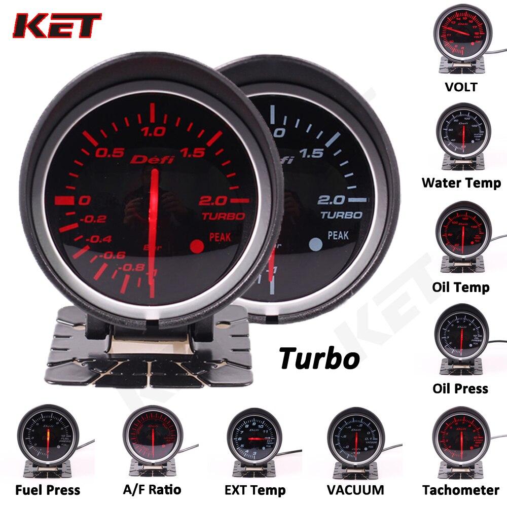 Defi BF luz blanca y roja medidor de 60mm voltaje agua temperatura aceite presión de aceite rpm aumento de vacío ext temperatura aire/relación de combustible medidor automático