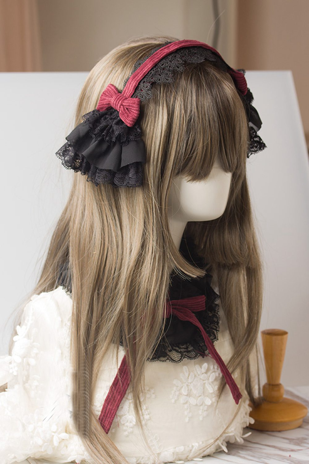 1pc Black Ruffled Lace Bow Hairband Gothic Lolita Collar