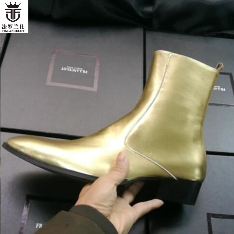 2018 FR.LANCELOT Brand Gold Shiny Patent Leather Genuine Leather Side Zipper High Top Men Boots Chelsea Boots Flats Shoes Mens shiny slim black gold red flats shoes mens casual shoes genuine leather mens outdoor shoes ankle boots