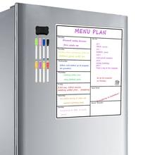 Geladeira magnética apagável seca semanal, placa de refrigerador semanal, tecnologia resistente a calendário, geladeira de escritório