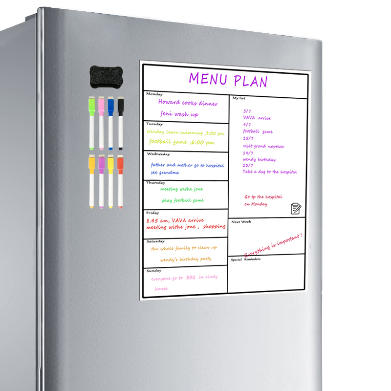 Magnetic Dry Erase Weekly Planner Board Refrigerator Weekly Whiteboard Calendar Resistant Technology Family, Home, Office Fridge