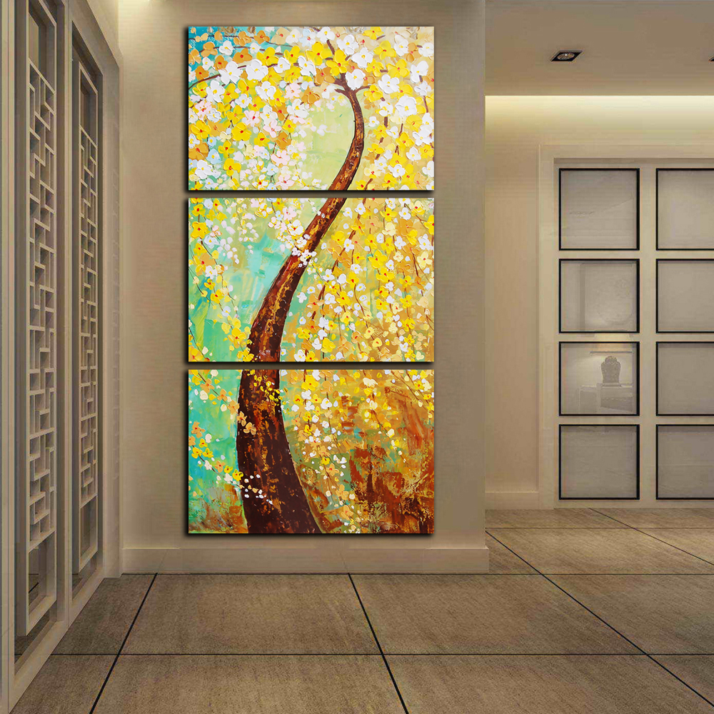 Free Shipping Home Decorators: Free Shipping 3 Panels HD Print Abstract Gold Tree Flower