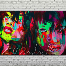 Palette knife portrait Face Oil painting Character figure canvas Hand painted Francoise Nielly wall Art picture 011