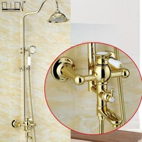 Набор для душа для ванной комнаты Роскошный золотой Латунный настенный смеситель для душа с ручным набором для душа ELS2008