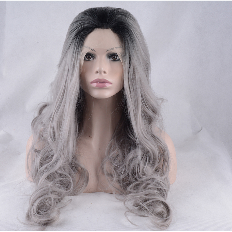 Super Quality Long Curly Hairstyle Dark Grey Color