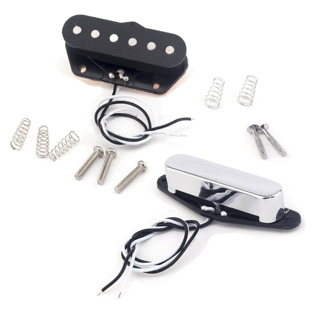 цена Musiclily Pro Alnico 5 Black 54 mm Bridge Chrome 50 mm Neck Single Coil Pickup Set for Telecaster Tele TL Electric Guitar Parts