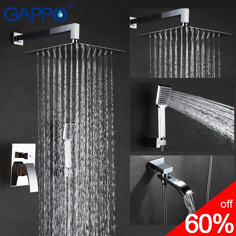 GAPPO torneira do chuveiro torneiras chuveiro do banheiro misturador do banho de chuveiro de massagem cabeças sistema de banho de cachoeira misturador do chuveiro torneira conjunto