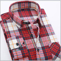 Autumn 2017 Men's Long-sleeved Plaid Striped Dress Shirts Double-collar Regular Fit Business Casual Button-down Shirt Work Wear
