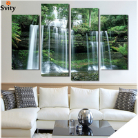 Nature Waterfalls Landscape Poster,Large Modern Canvas Wall Decoration for Home Office,Green Forest Shower Photo Print No Frame