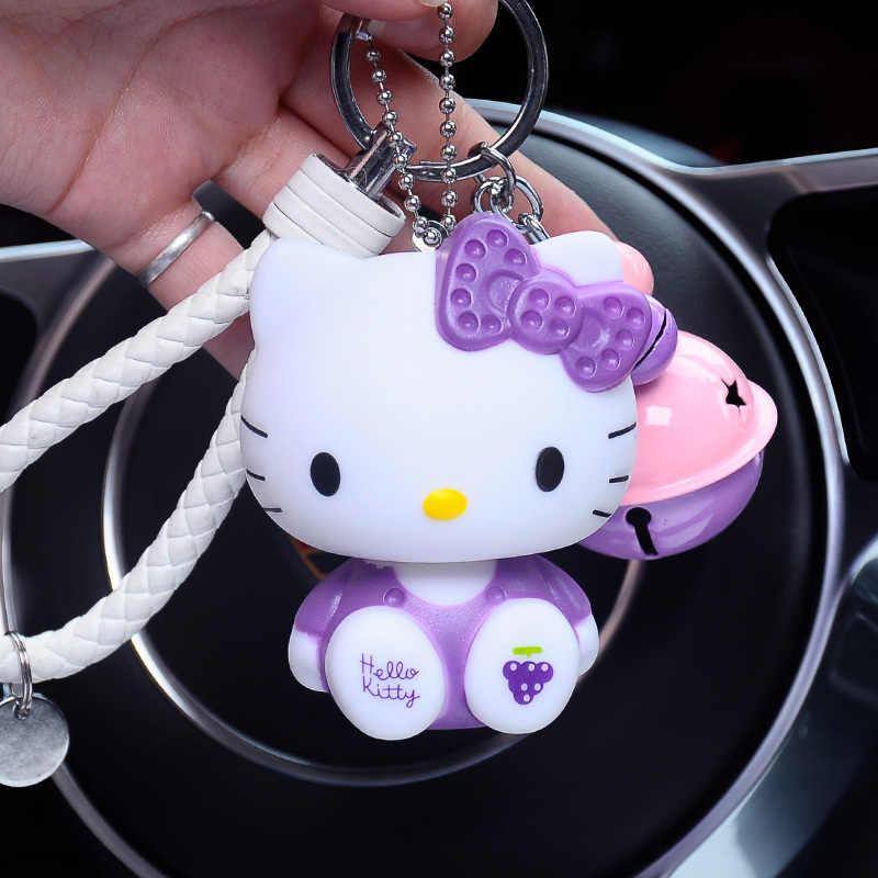 6d3199314 ... Cartoon Dolls Cat Hello Kitty Keychain Leather Rope Bell Porte Clef Car  Key Ring KT Key ...
