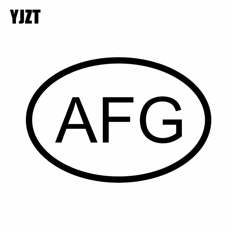 YJZT 14.2CM*9.6CM AFG <font><b>AFGHANISTAN</b></font> COUNTRY CODE OVAL CAR STICKER VINYL DECAL Black Silver C10-01308 image