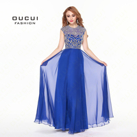 Real Photos Chiffon High End Quality A Line Blue Color See Through Elegant Long Prom Dresses OL102366