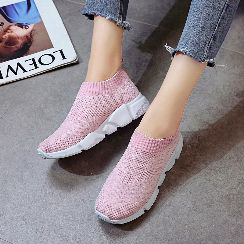 HTB1ypZRanHuK1RkSndVq6xVwpXa4 Rimocy plus size breathable air mesh sneakers women 2019 spring summer slip on platform knitting flats soft walking shoes woman