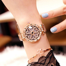 цена на Top Brand Luxury Diamond Rose Gold Watch Woman Quartz Watches Lady Wristwatch Female Girl Clock Rotating Dial Relogio Feminino