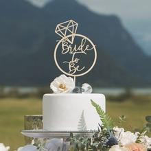 Topper de la torta de la novia para la ducha de la novia personalizado decoraciones de la fiesta de la despedida de soltera Topper de la torta de compromiso rústico