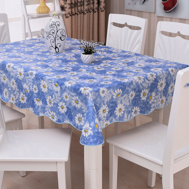 Beautiful Anti Scald Daisy Table Cover Dining Waterproof Flower Tablecloth Writing  Desk Oil Proof Garden Blue PVC