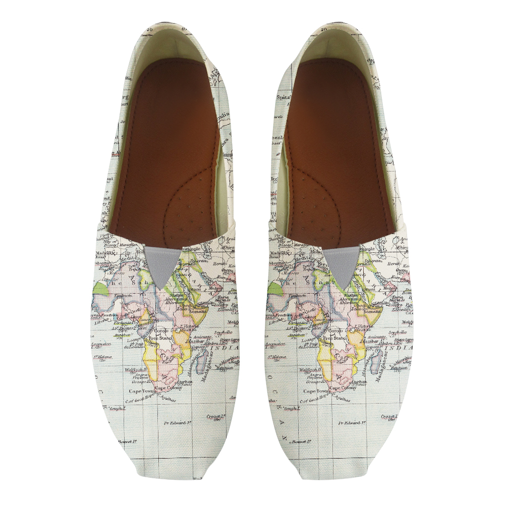 White Map Printed Summer Women Flats Canvas Ladies Mom Nurse Work Lazy Shoes Slip-on Loafers Flat Footwear Zapatos Mujer women cartoon loafers 2015 casual canvas flats shoesladies trifle thick soled creepers footwear mujer zapatos