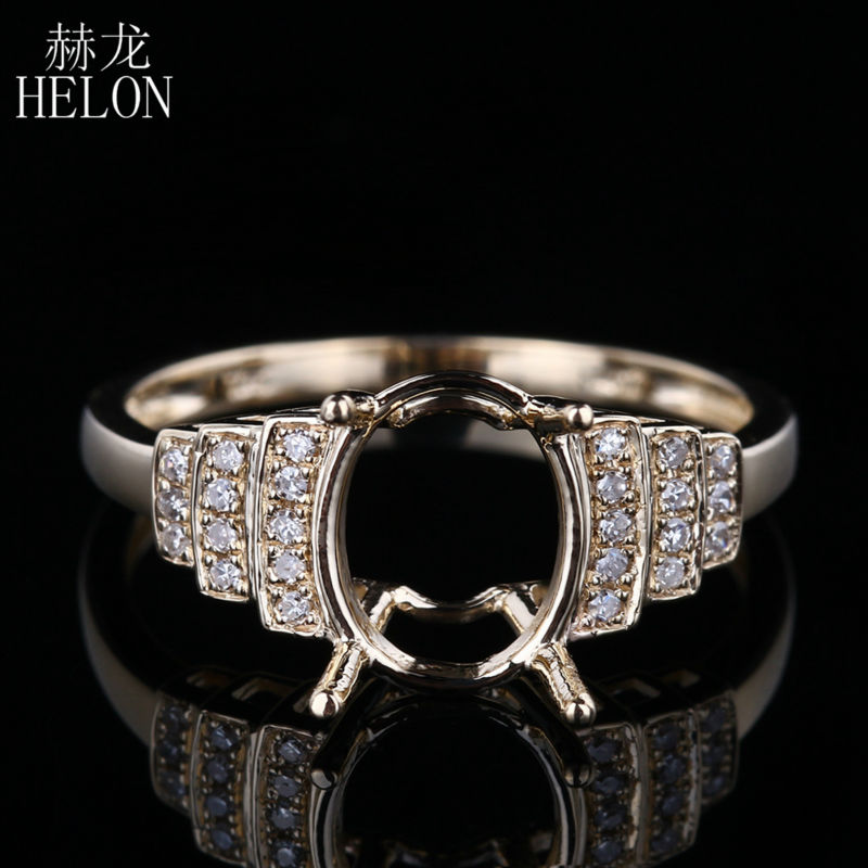 HELON Solid 10K Yellow Gold for Women's Fine Jewelry Ring Setting 7X9mm Oval Semi Mount Natural Diamonds Engagement Wedding Ring vintage oval 7x9mm solid 18kt white gold diamond semi mount pendant wholesale fine jewelry for girl wp025