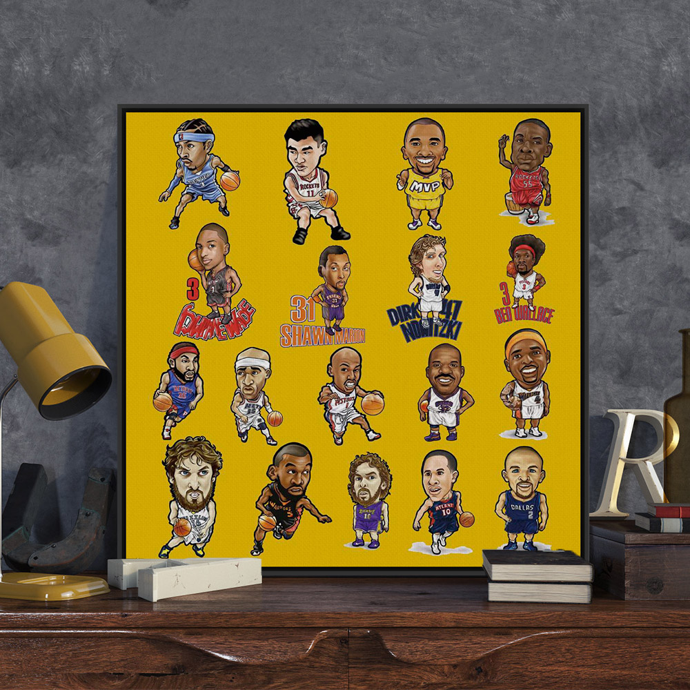 Cartoon NBA All Star Basketball Modern Pop Poster Prints Large Sports Picture Canvas Painting Kids Room Wall Art Decoration Gift