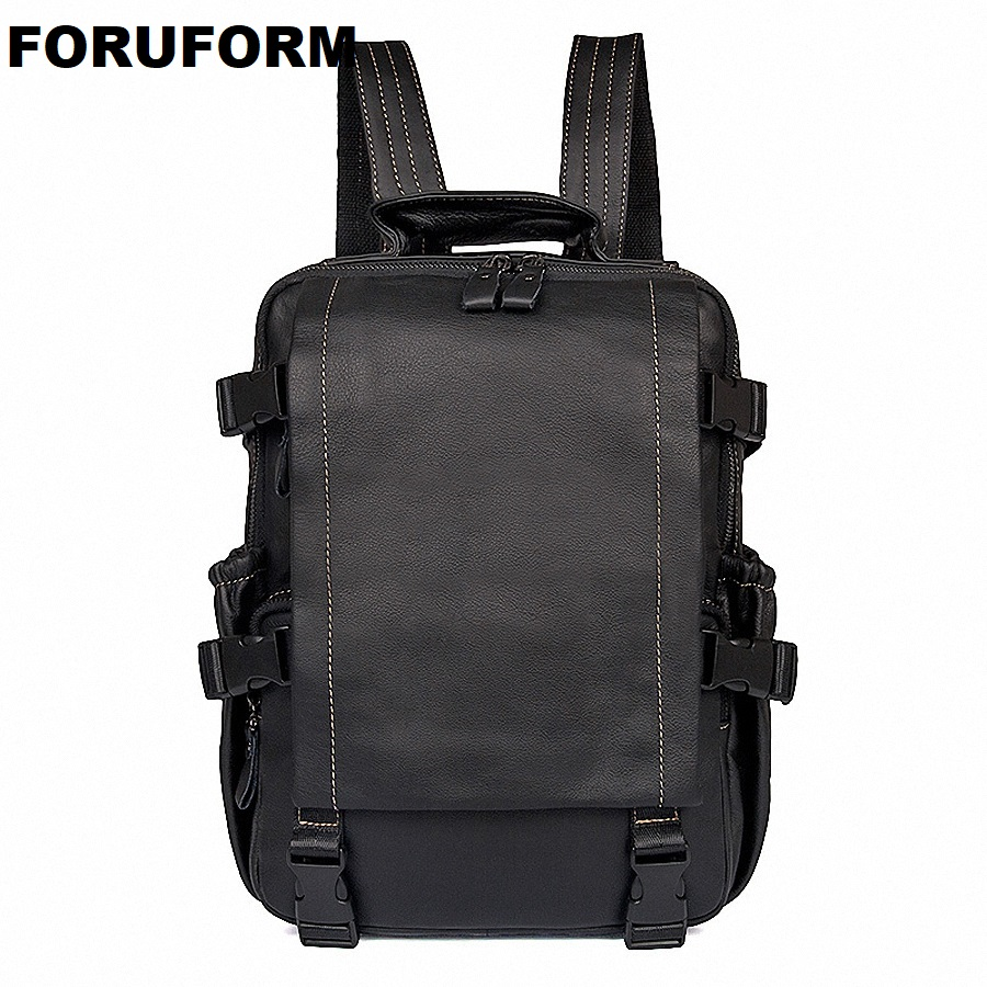 Men Backpack Genuine Leather Men's Travel Bags Fashion Man Backpack Casual Business Cowhide Leather Male Backpacks LI-2040 17 inch first layer cowhide leather backpack for men laptop bags genuine leather men backpack casual travel backpacks