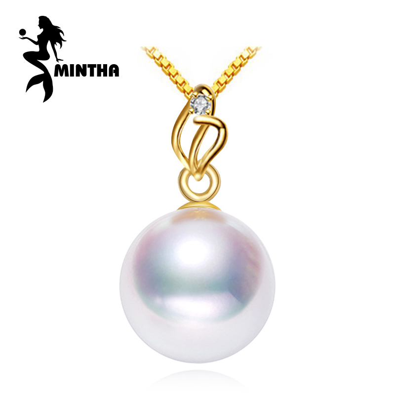 MINTHA 18K Gold pendant pearl Jewelry pendant necklace women for lovers fine jewelry pearl pendant with 925 silver necklaceMINTHA 18K Gold pendant pearl Jewelry pendant necklace women for lovers fine jewelry pearl pendant with 925 silver necklace