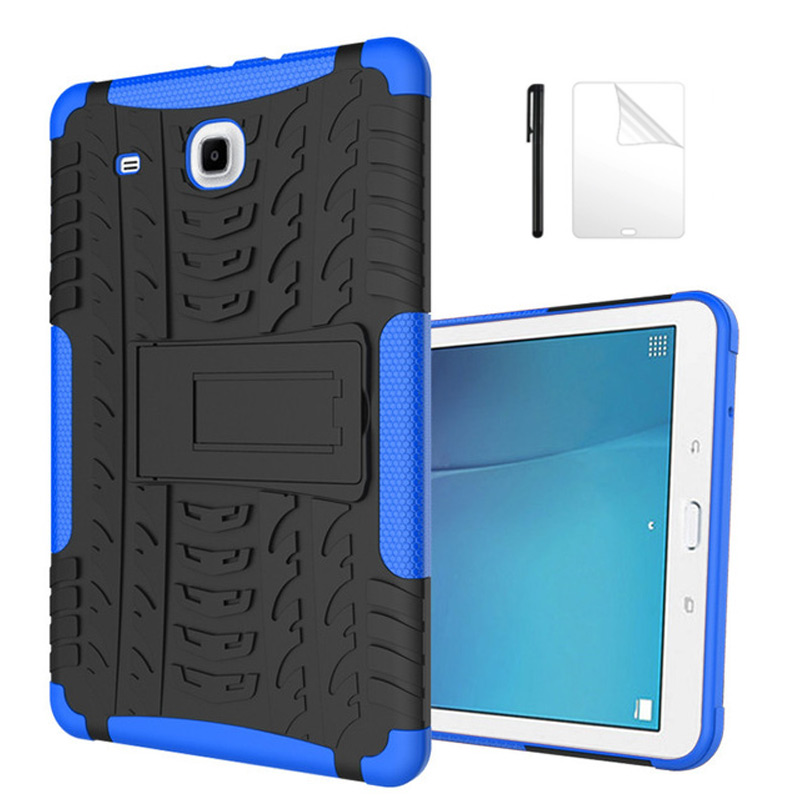 Armor Shockproof Non Slip Stand TPU+PC Case For Samsung Galaxy Tab A 9.7 T555 T550 SM-T555 SM-P550 Anti-Knock Cover+Film+Pen
