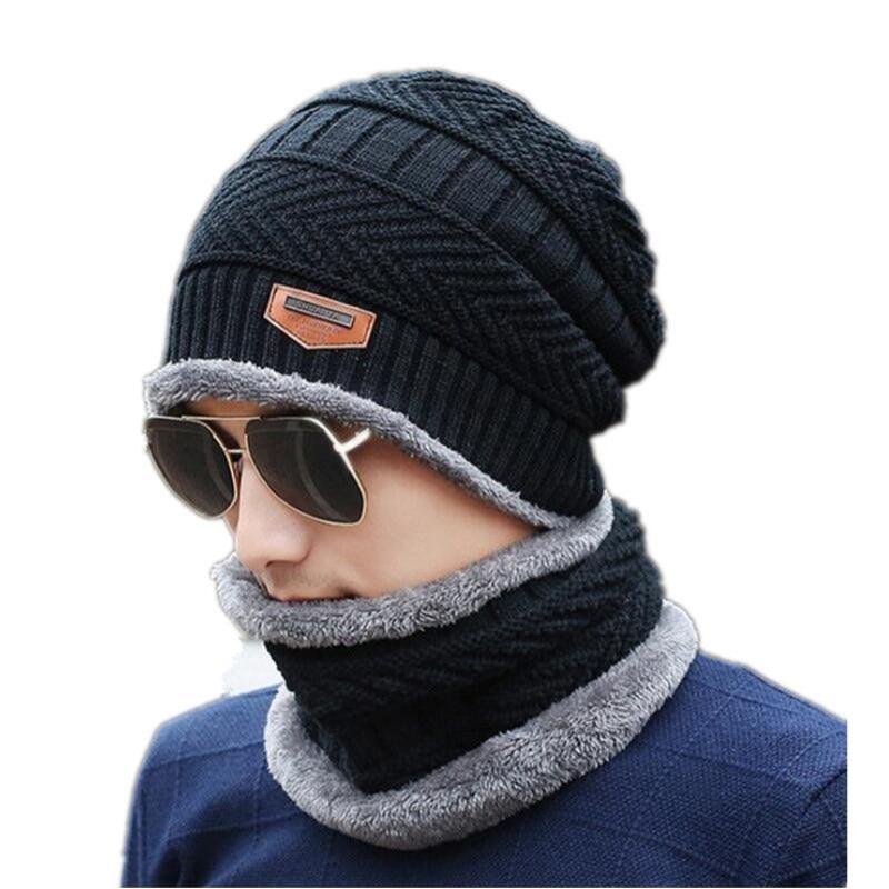 ffd96844280d € 6.4 8% de DESCUENTO|Cuello cálido invierno sombrero gorro bufanda  conjunto de forro de lana gruesa de punto cálido pasamontañas invierno  sombrero ...