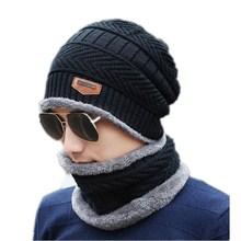 Neck warmer winter hat knit cap scarf set fur Wool Lining Thick Warm Knit balaclava Winter Hat Cap Scarf Sets Skullies bonnet
