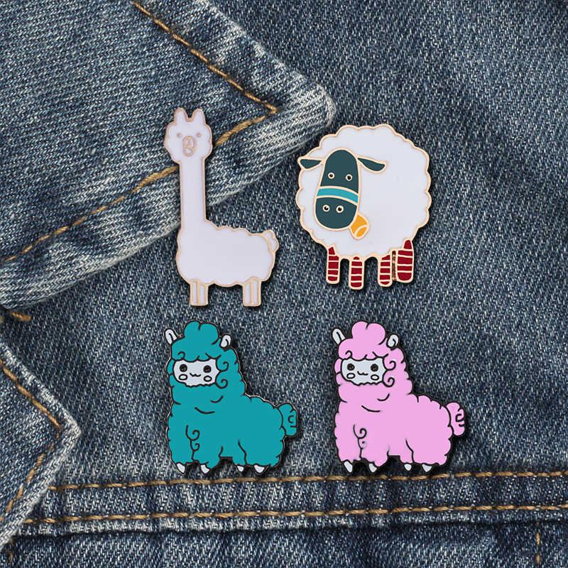 Shshd Alpaca Bros Pink Biru Putih Domba Kartun Hewan Enamel Anak Ransel Lencana Jaket Kerah Tombol Pin Kawaii Perhiasan