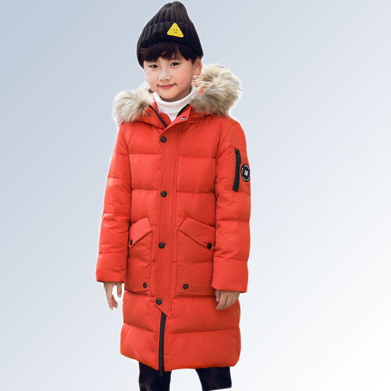 Boys Winter Jacket Children Kids Clothes Long Hooded Warm Down Jacket 2018 Girls Coat Outwear Teenage Boys Clothing 8 12 14 Year children down jacket long sleeves little bear ears lightweight warm hooded clothing winter hooded jacket short coat infants kids