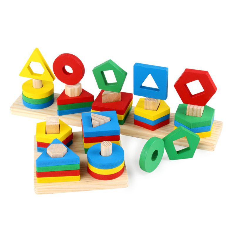 Wooden Geometric Shape Puzzle Early Educational Baby Kids Puzzle Baby Building Toys Gift