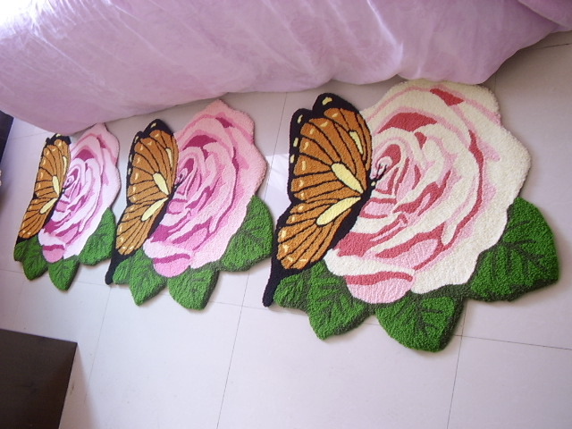 Delightful Tapete Rose Carpets Shaped Butterfly Garden Roses Rugs, Mats Marriage Room  Bedroom Bedside Rug Embroidered Washable Doormat Rugs