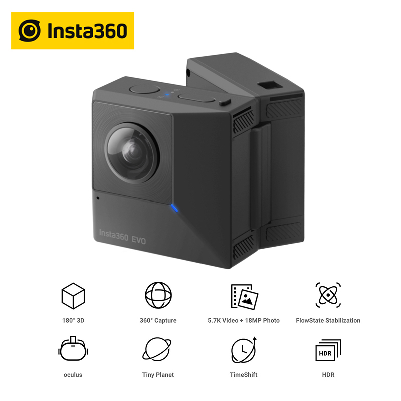 360°-video-kamera Unterhaltungselektronik Angemessen Insta360 Evo 360 Vr Panorama 3d Kamera 5,7 K Video Action Kamera Für Android Und Iphone Xs/xs Max /xr/x/8/8 Plus/7/7 Plus/6 S Plus Tropf-Trocken