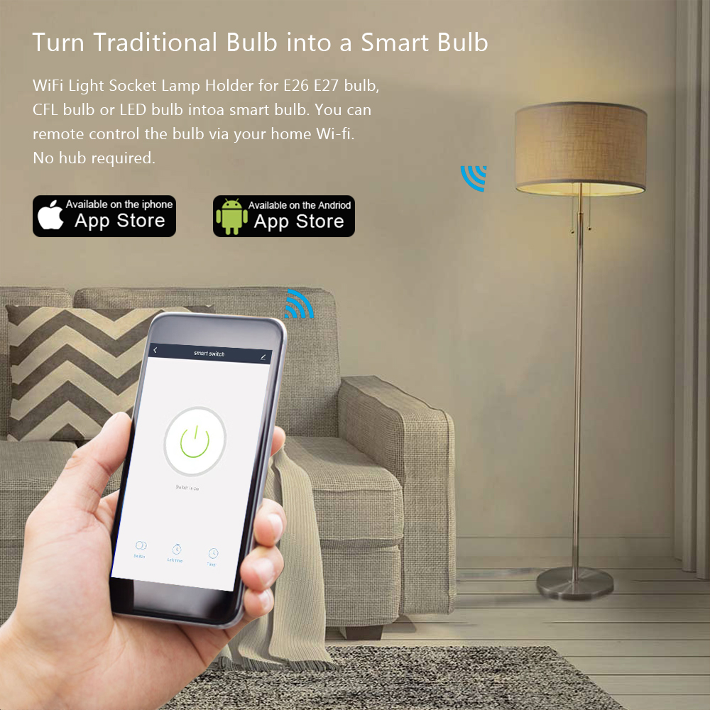 Image 3 - Tuya Smart Life WiFi Light Socket Lamp Holder for E26 E27 Led Bulb Google Home Amazon Echo Alexa Voice Control App Timer Light-in Electrical Sockets from Home Improvement