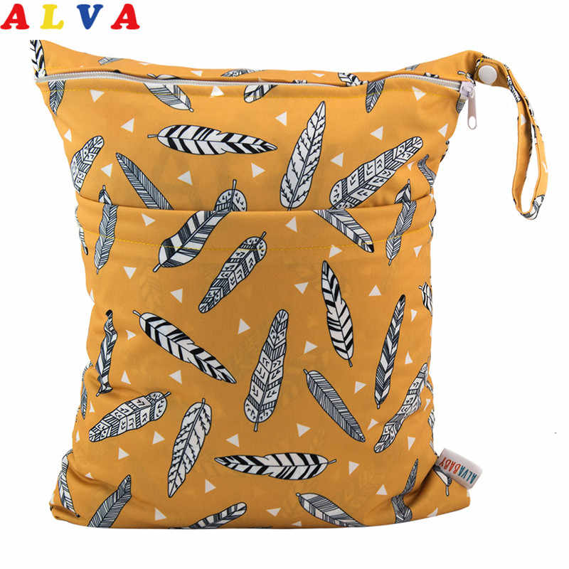 New Arrival! Alvababy Reusable Diaper Bag Two Pockets Reusable Wet / Dry Bag Washable Nappy Bag Waterproof Wetbag