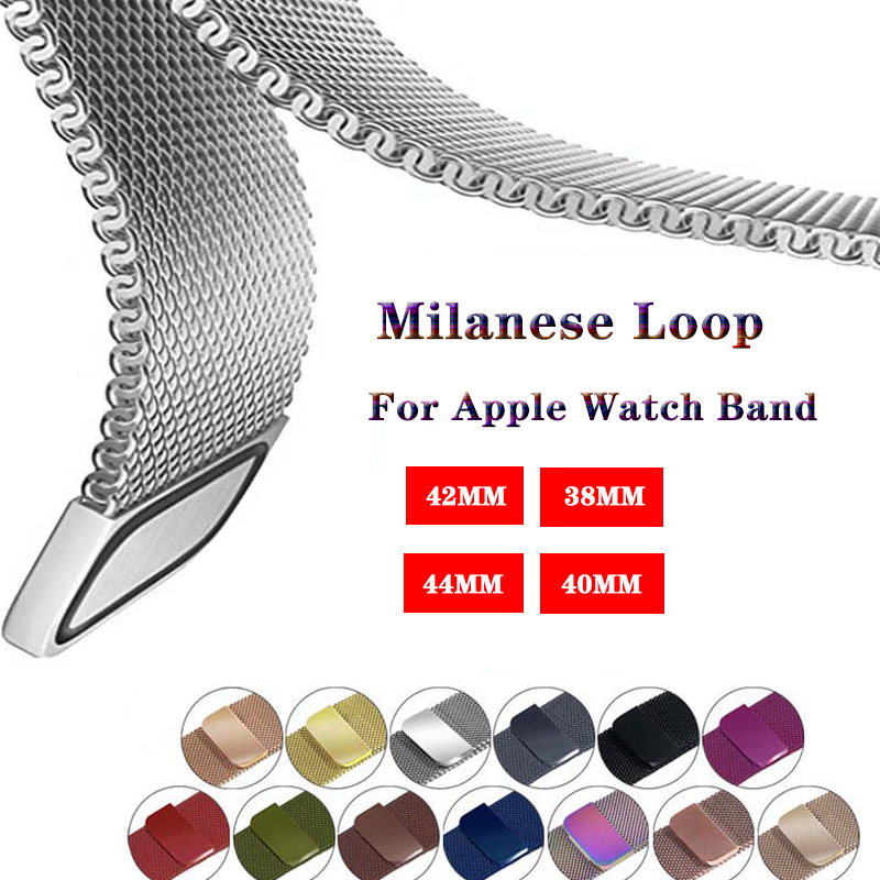 Milanese Loop Bracelet strap for Apple Watchband 4 5 44/40mm Stainless Steel band for iwatch series 3 2 1 42/38mm band Accessory image