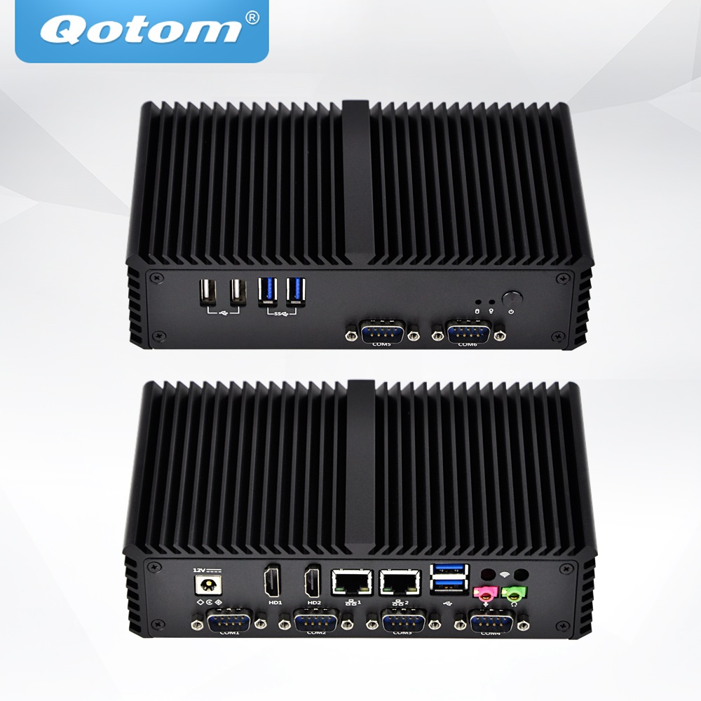 QOTOM Fanless Mini Industrial PC with 6 COM Ports X86 Mini Computer with Pentium 3805U Processor