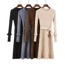 Women Sweater Dress Autumn Winter Clothes New Fashion Ruffle Long Sleeve Knitted Dress Women Casual Knee Length Dress Black 286 new women slash neck irregular hem cashmere sweater dress long sleeve knee length knitted mermaid dress spring autumn bottoming